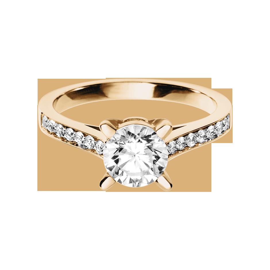 Diamantring Gstaad in Rosegold mit Brillant