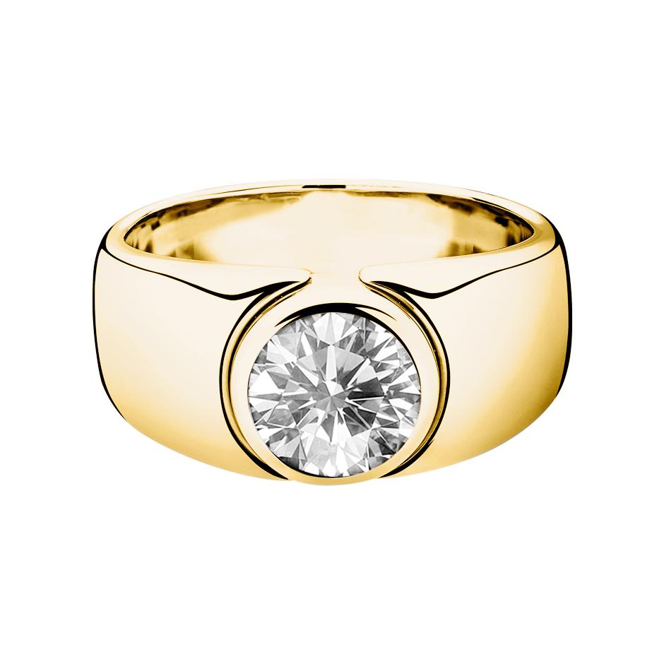 Diamantring Mantua in Gelbgold mit Brillant